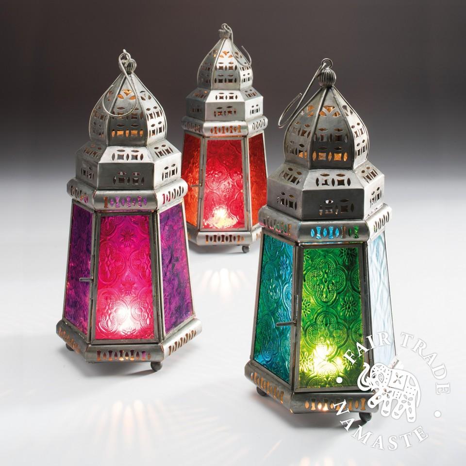 Single lantern supplied 27cm Pyramid Moroccan Lantern