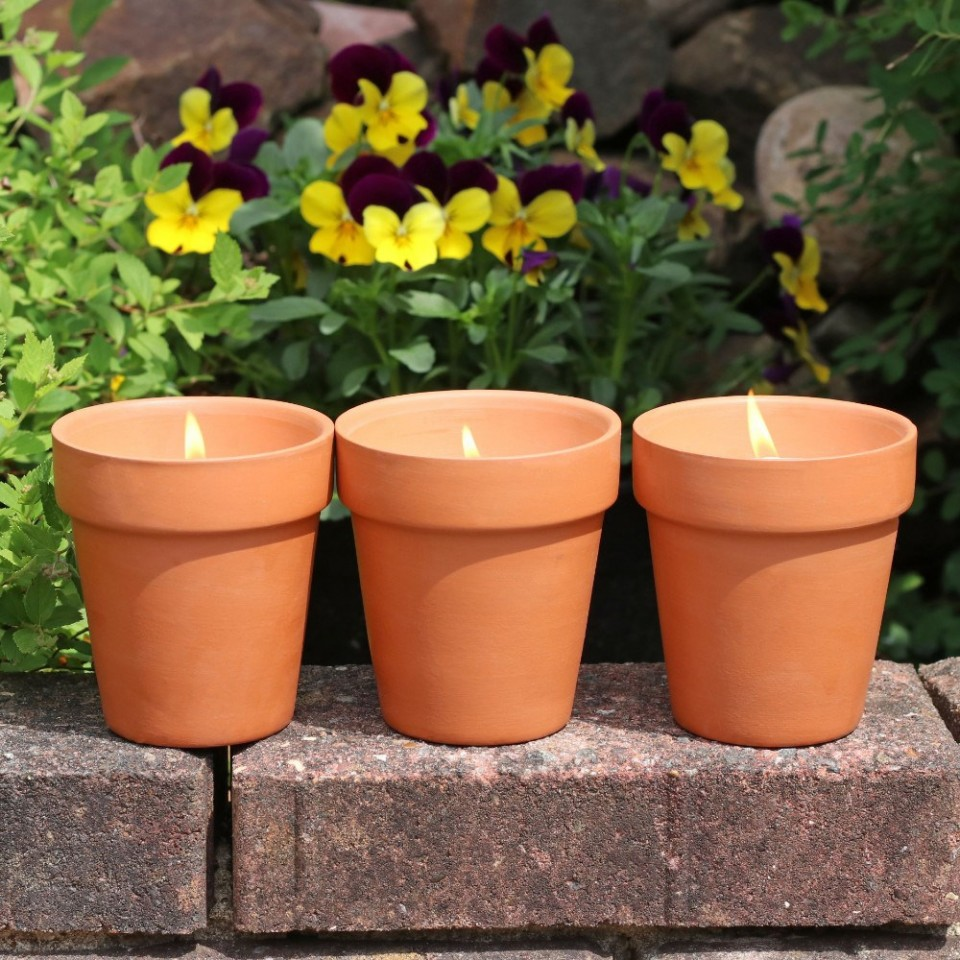 3 x Fragranced Flower Pot Candles