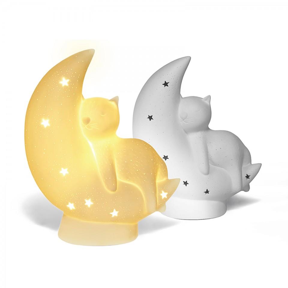 3D Ceramic Cat on the Moon Lamp
