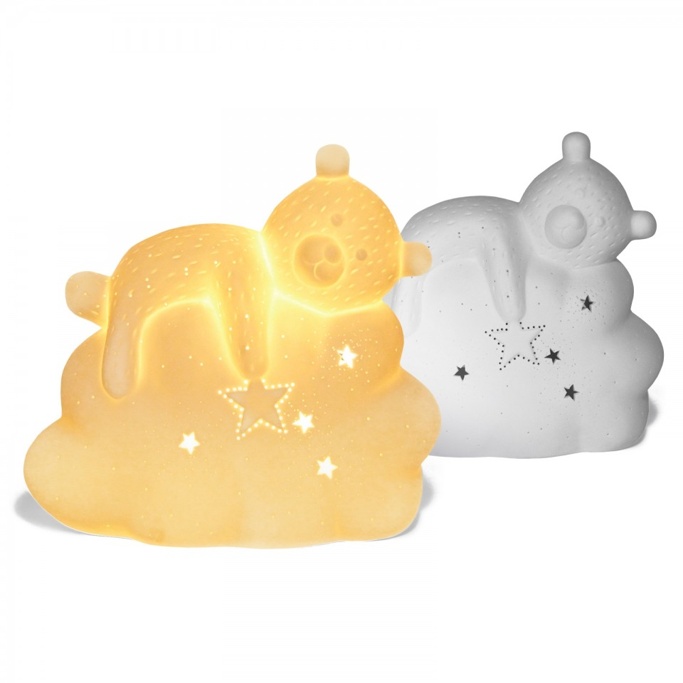 3D Sleepy Teddy Ceramic Lamp