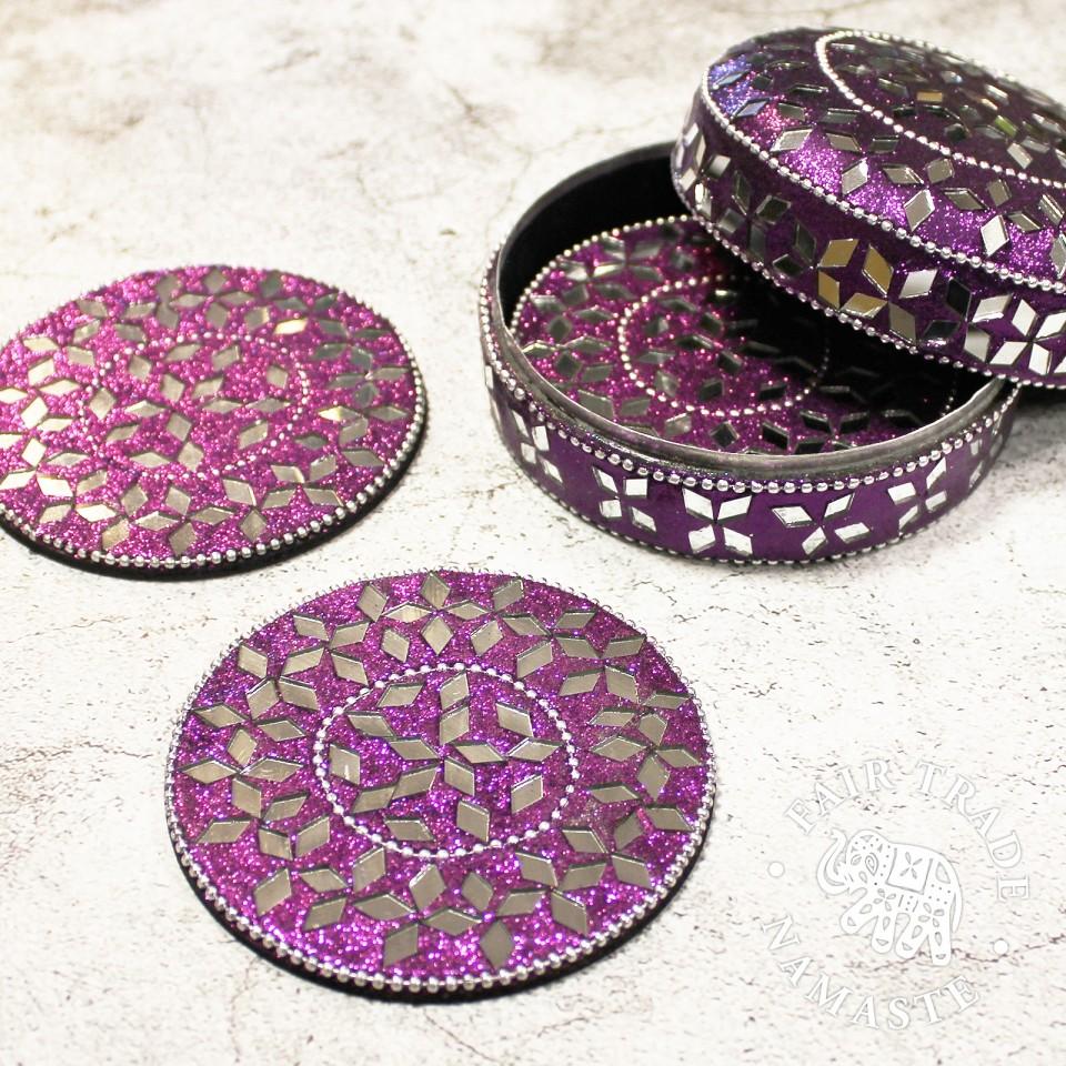 Glitter Coasters in Tin (4 pack)