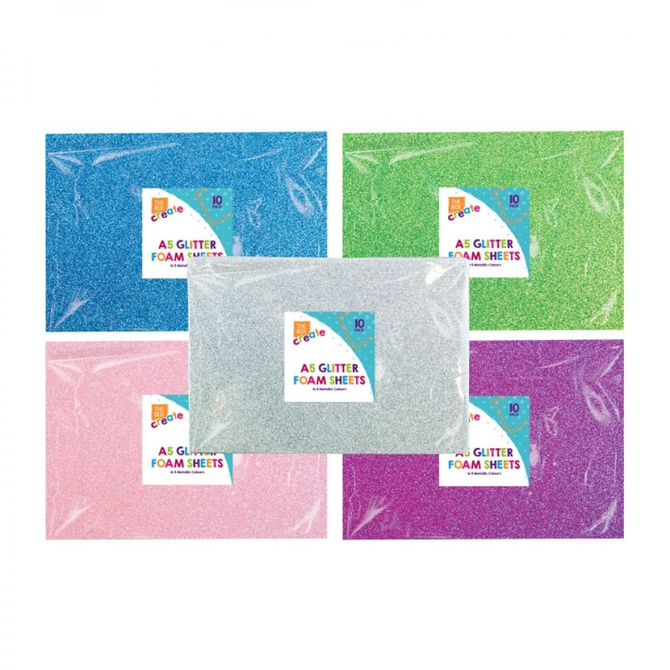 5 metallic colours A5 Glitter Foam Sheets (10 pack)