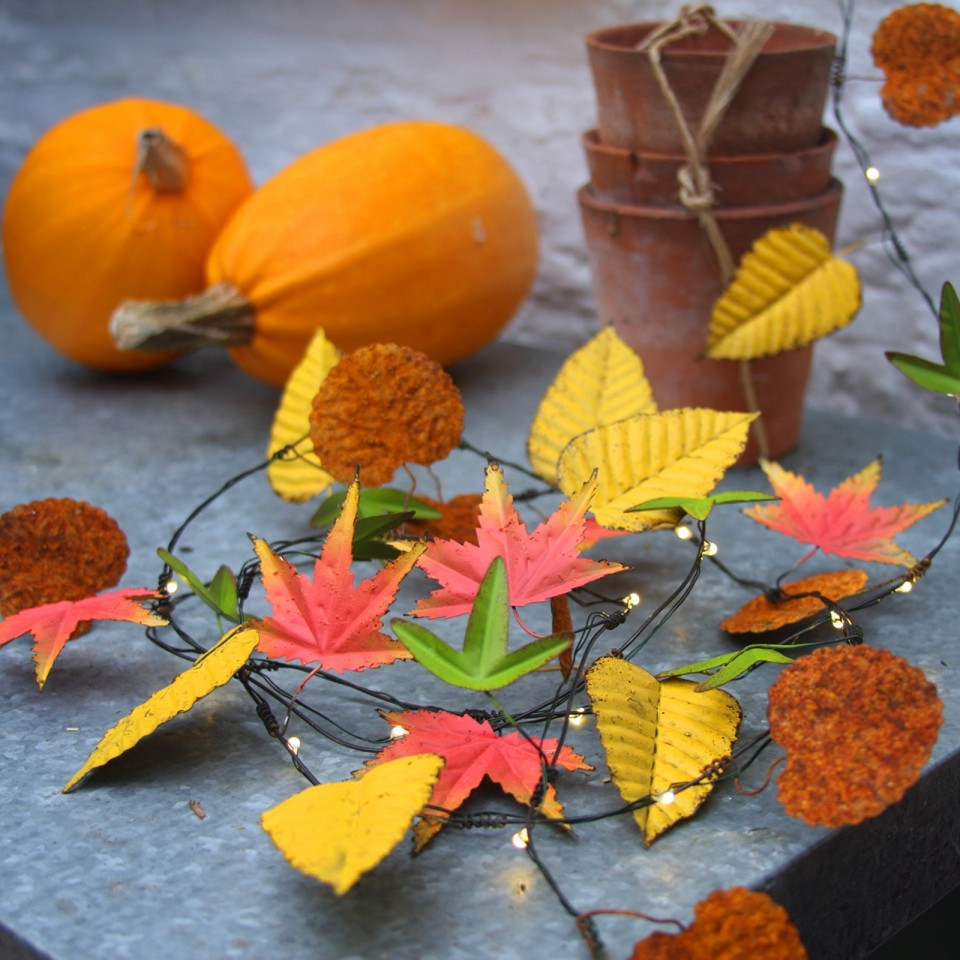 Autumn Leaves Metal Floral String Lights