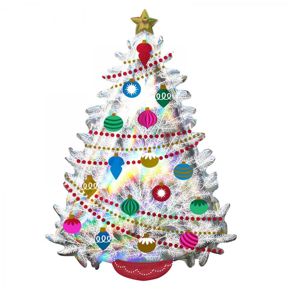 Super Shape 91cm Iridescent Christmas Tree Balloon