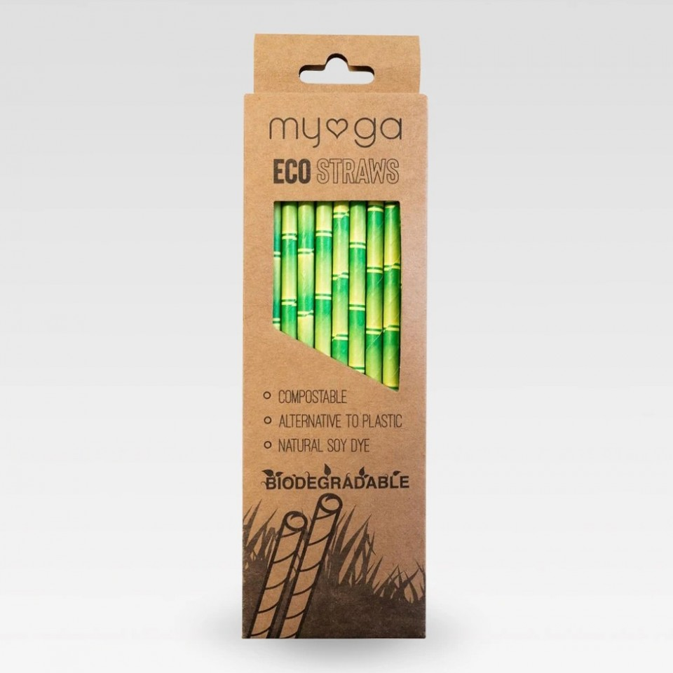 Bamboo Print Paper Eco Straws (20 pack)