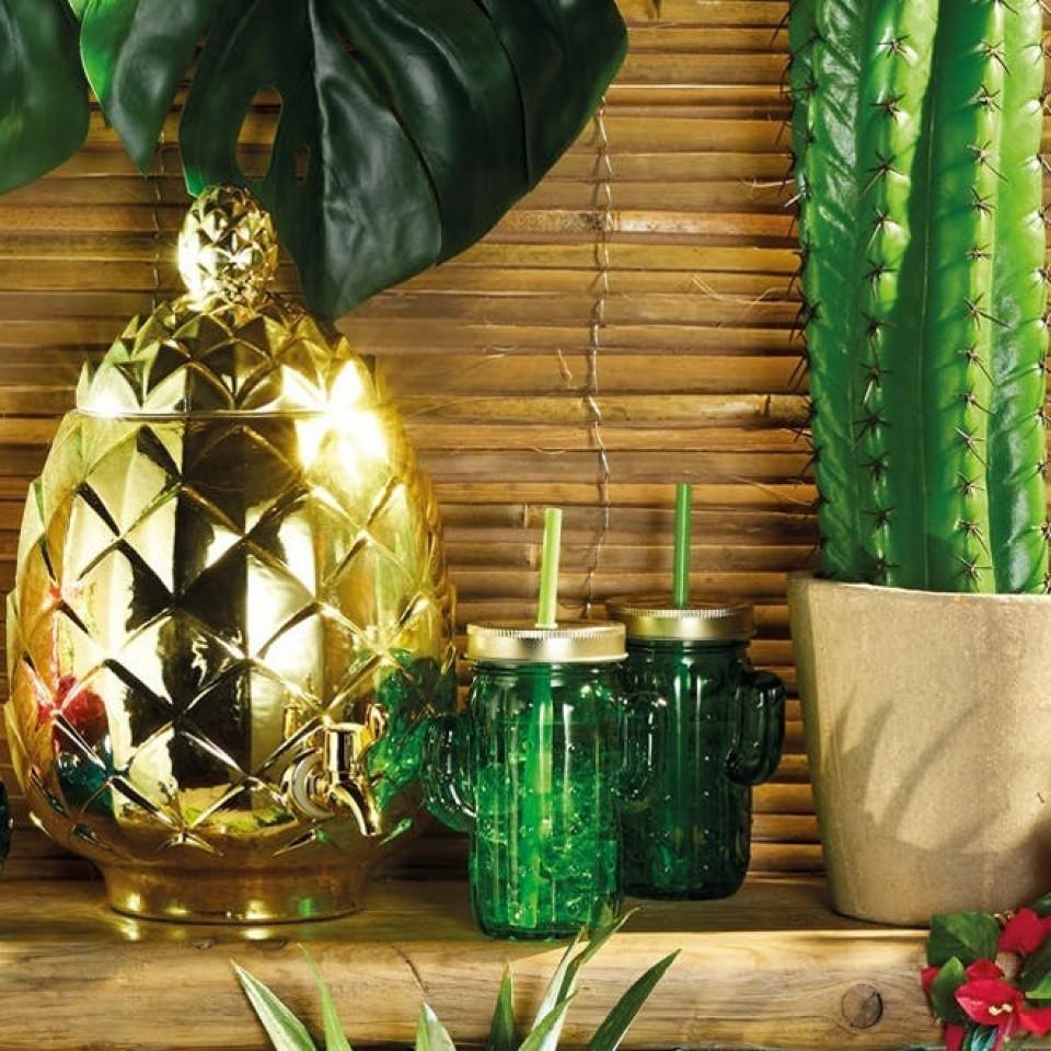 Cactus Glass Drinks Jars x 4