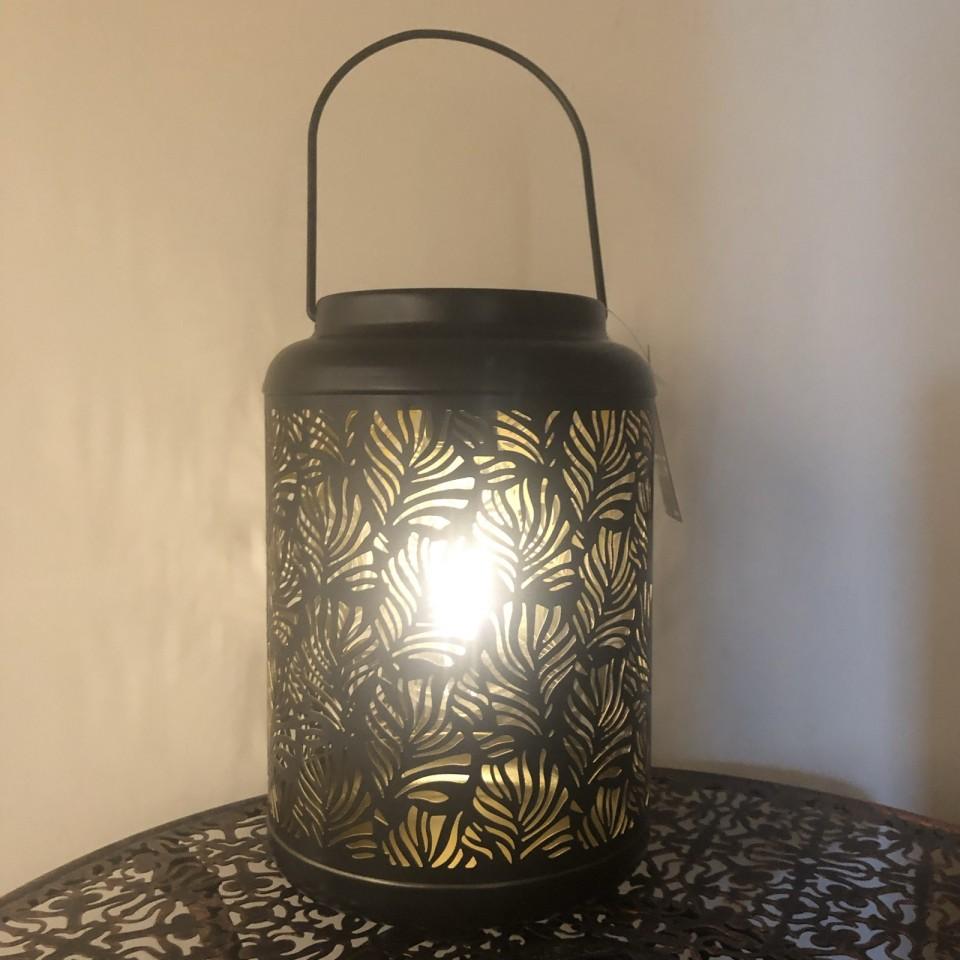 Black and Gold Solar Leaf Lantern (3897)