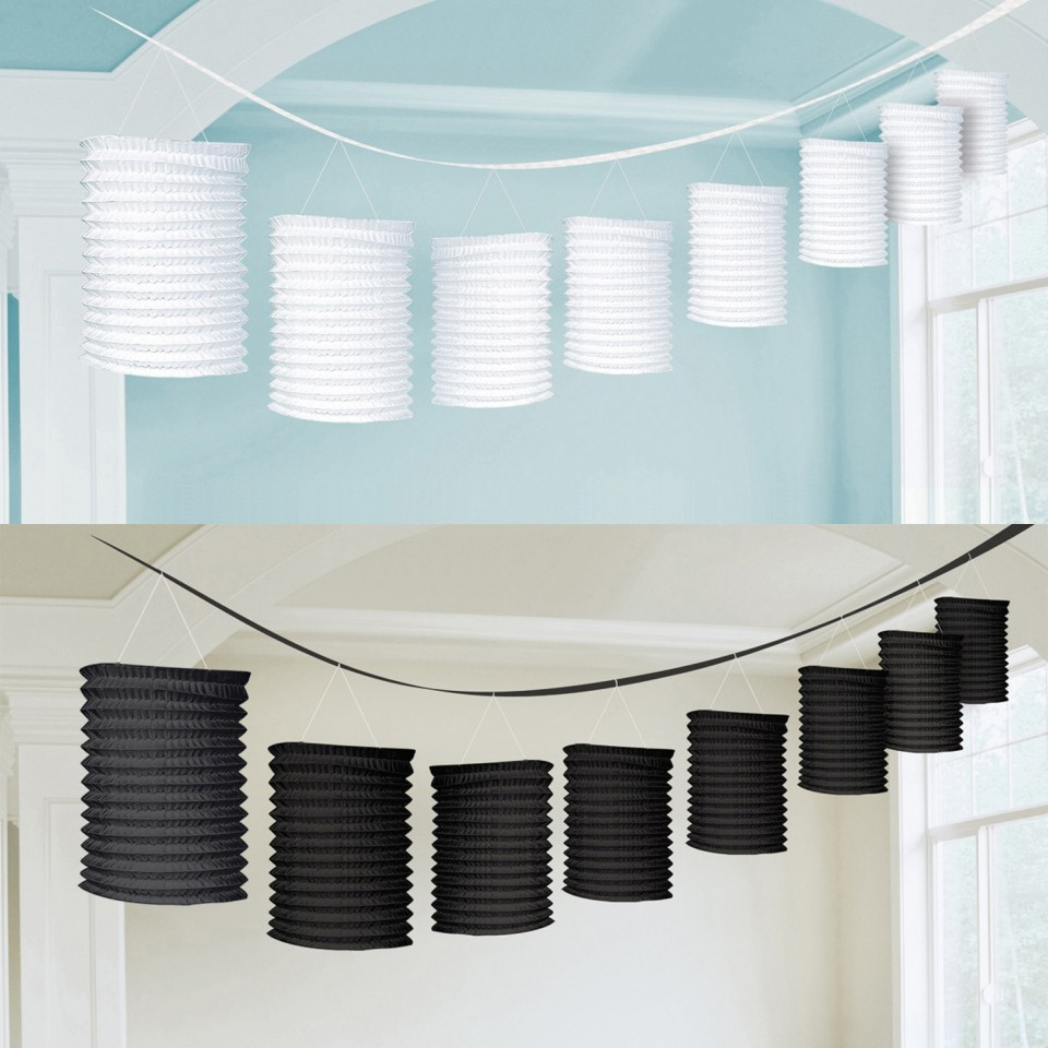 Black and White Paper Lantern Garlands