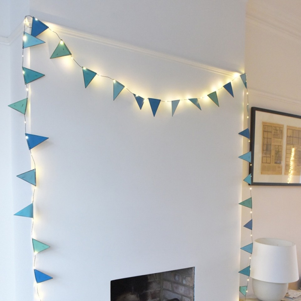 Blue Metal Bunting Fairy Lights
