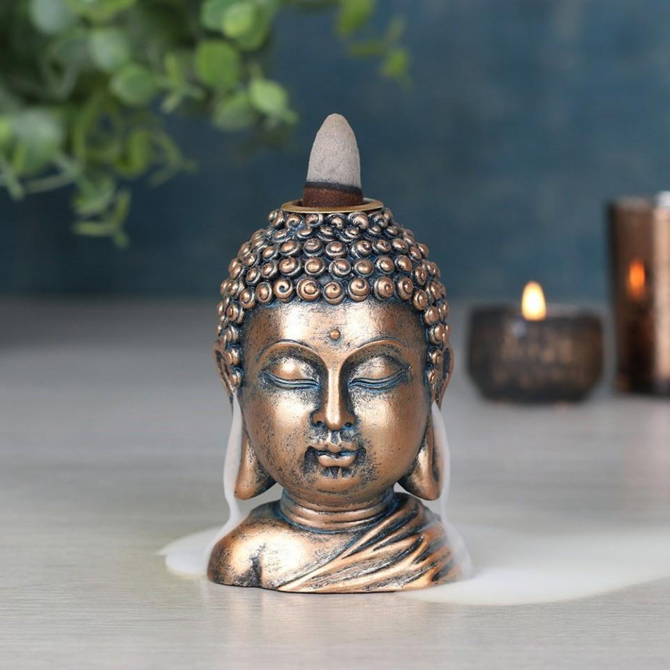 Bronze Buddha Head Backflow Burner