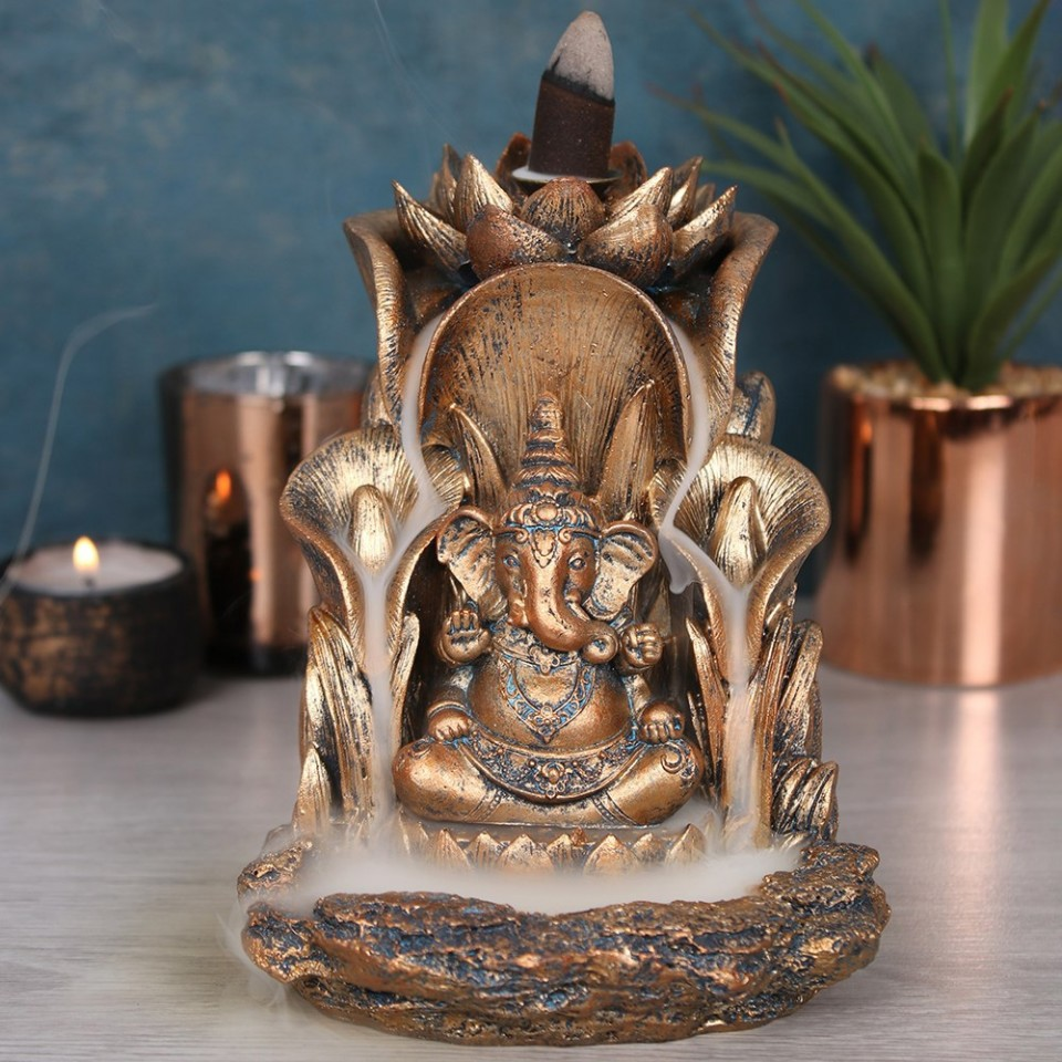 Bronze Ganesh Backflow Burner