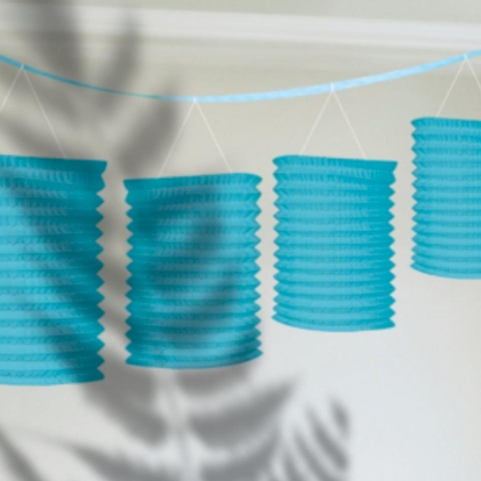 Caribbean Blue Paper Lantern Garland