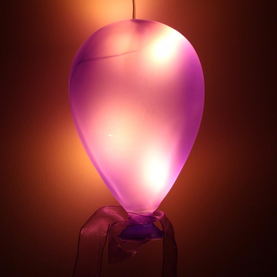 Purple Coloured Glass Hanging Balloon Light