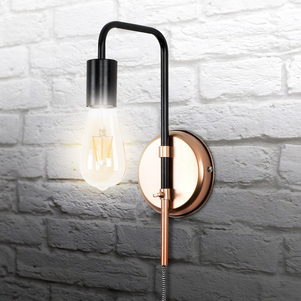 Bulb not included Single Bulb Copper Wall Light Fitting