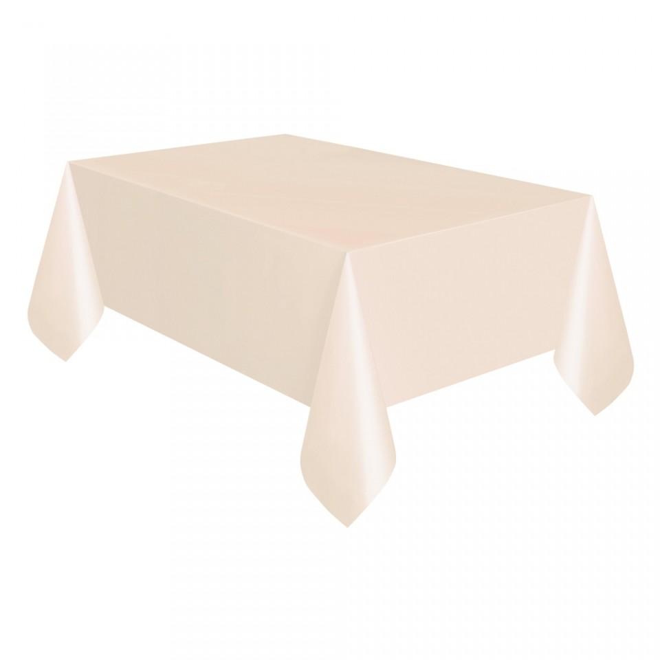 Cream Plastic Table Covers 120cm x 120cm (Twin Pack)