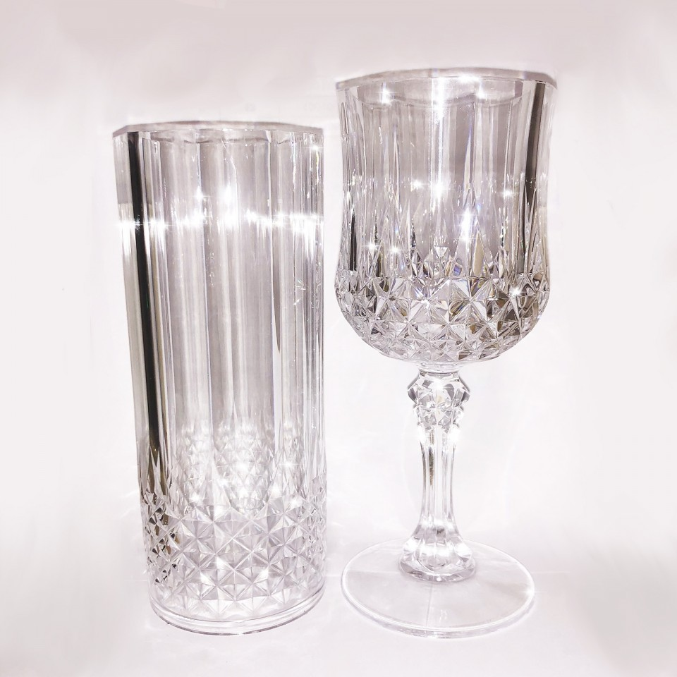 Crystal Effect Plastic Glasses - 2 Pack