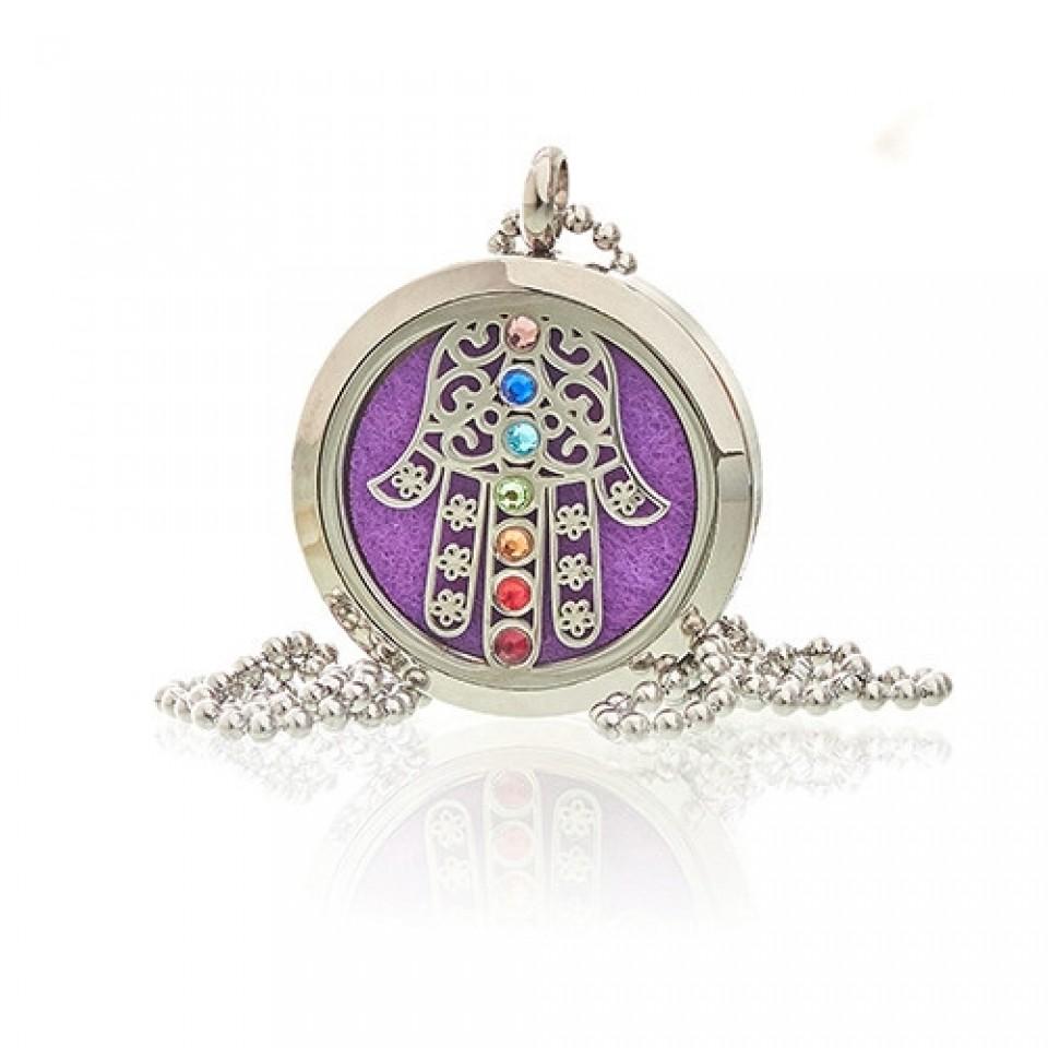 Diffuser Necklace - Hamsa Chakra 30mm (18)