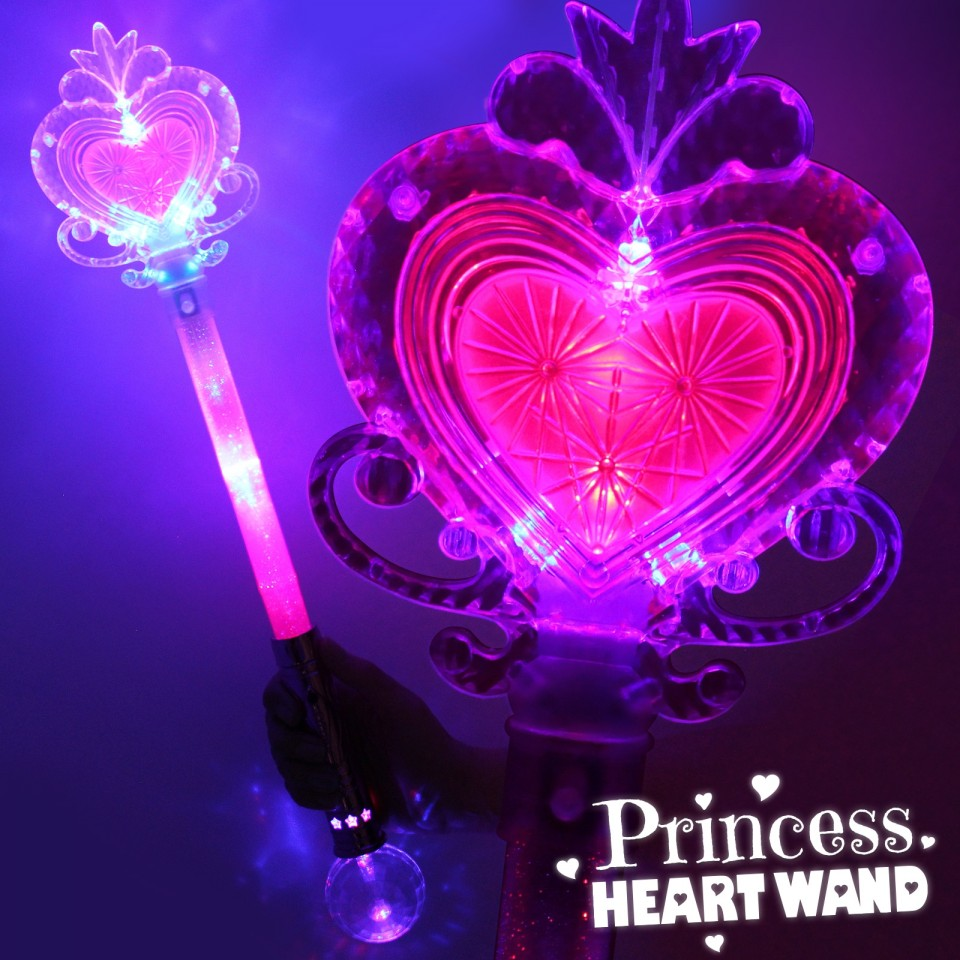 Pink Large Light Up Princess Heart Wand