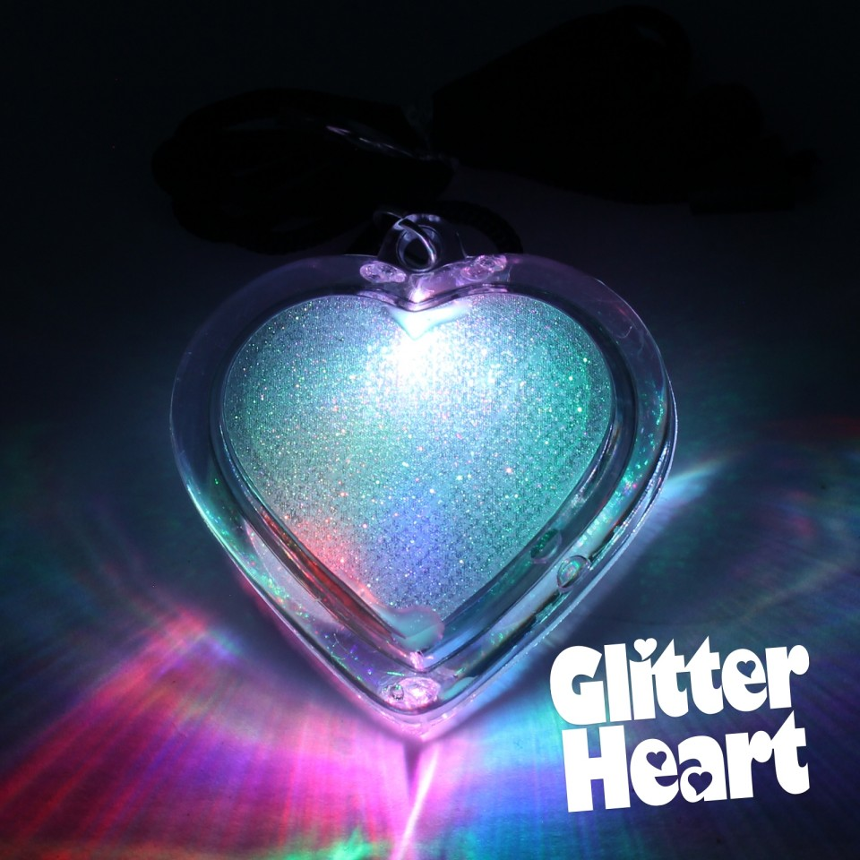 Light Up Glitter Heart Necklace