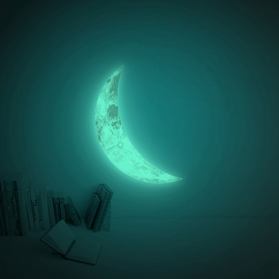 Giant Crescent Moon Glow Sticker