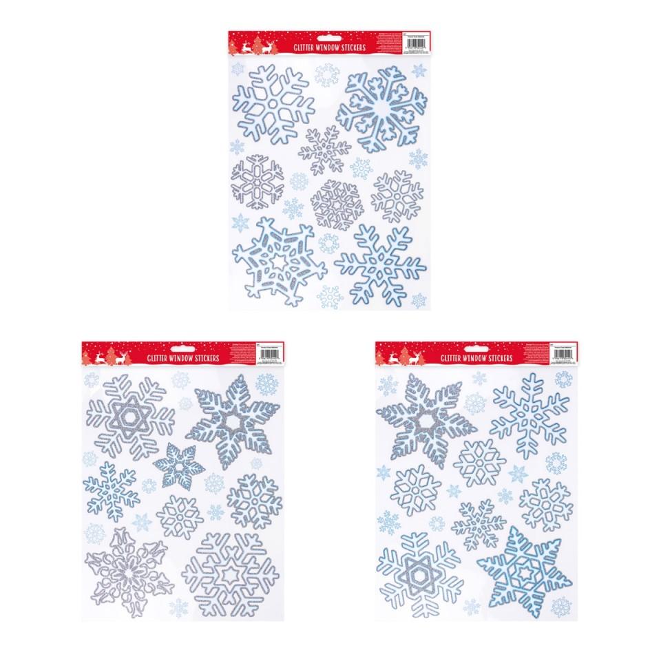 Single sheet of sticker supplied Glitter Snowflake Window Sticker