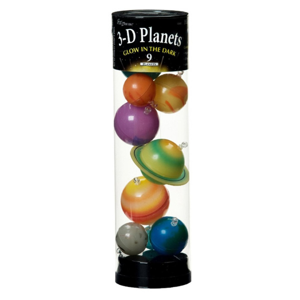 Glowing 3D Planets in a Tube