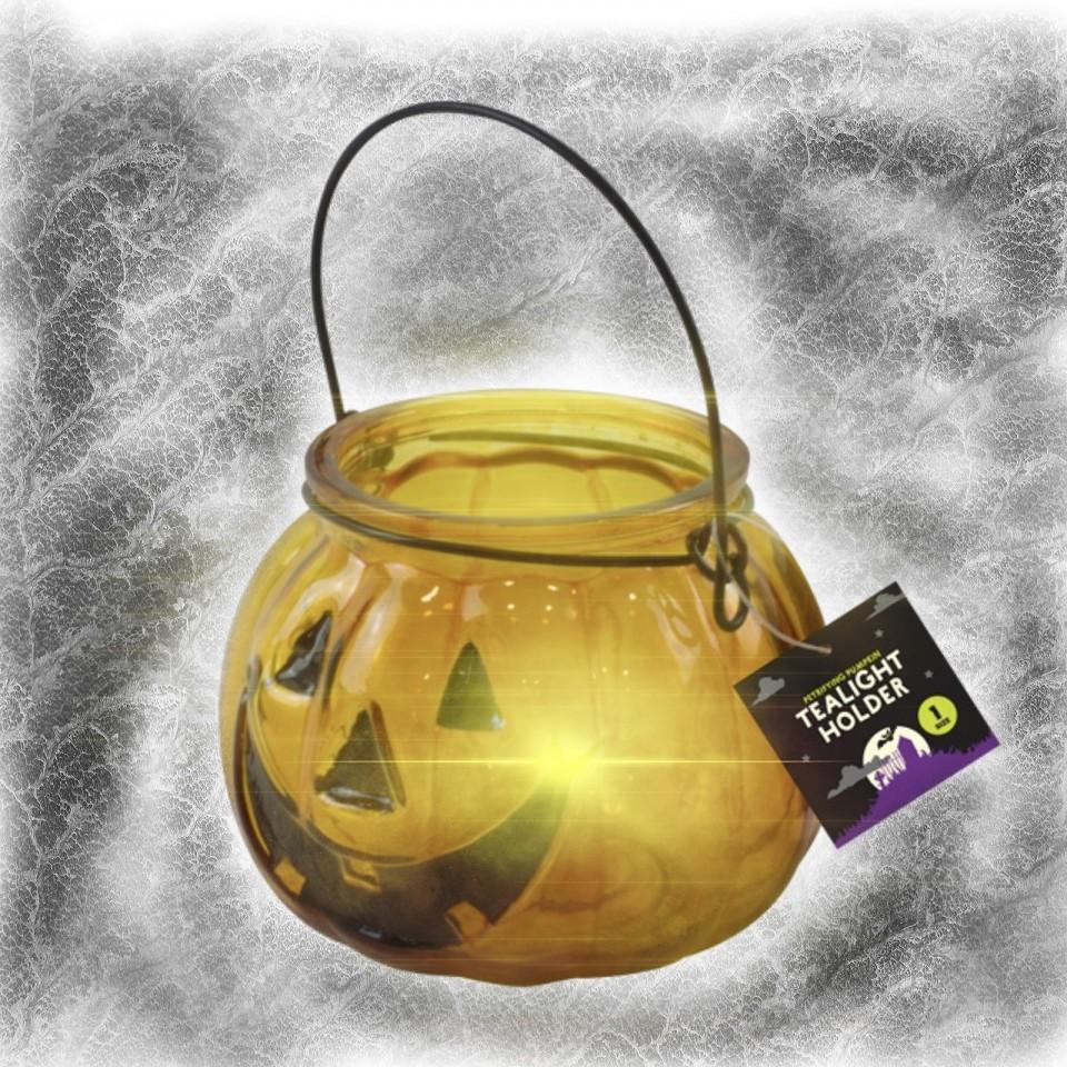 Halloween Pumpkin Glass Tealight Holder