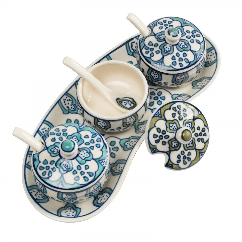 Hand Painted Ceramic Pickle Tray & Spoons