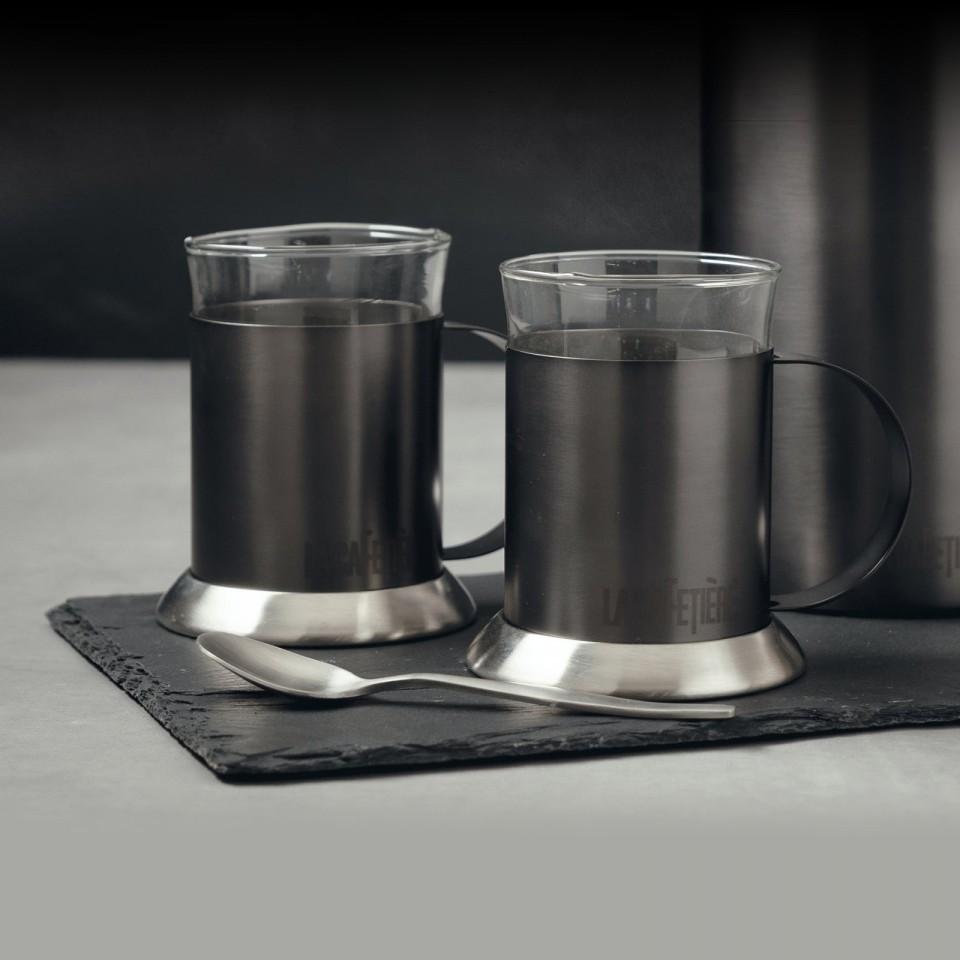 La Cafetiere Edited Set of 2 Glass Cups Gun Metal Grey