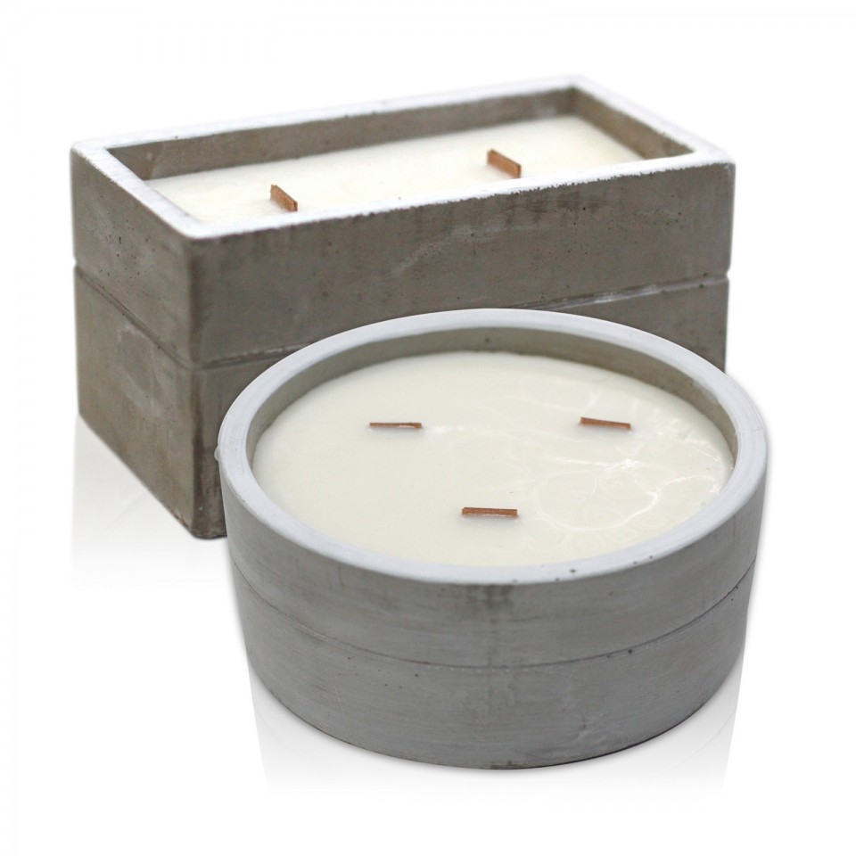 Large Concrete Soy & Woodwick Candle