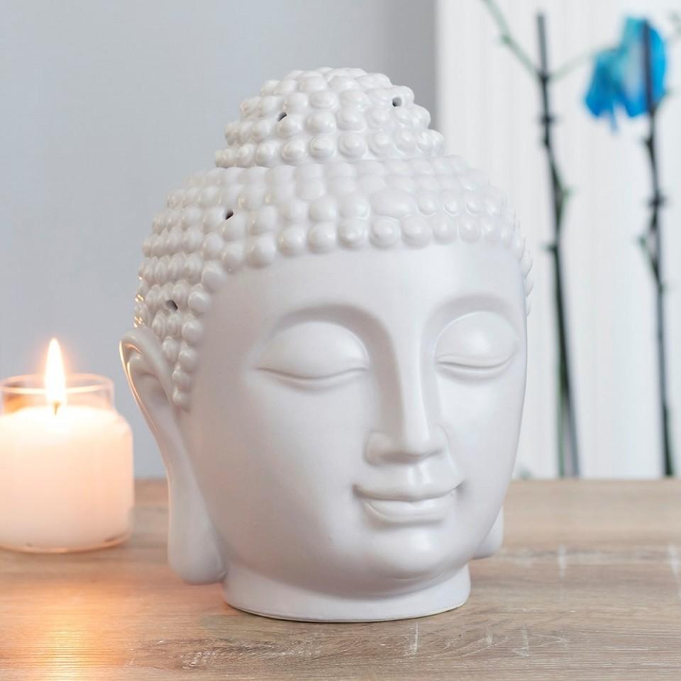 Large Grey Buddha Head Oil Burner 20cm