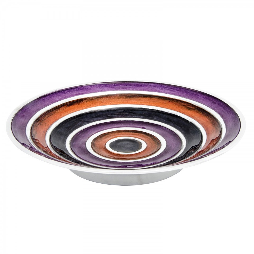 Large Recycled Aluminium Striped Bowl