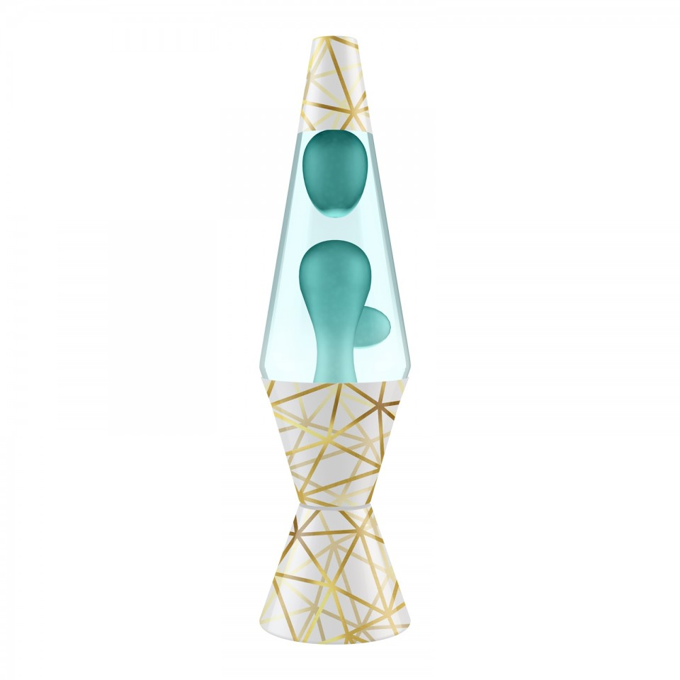 "14.5"" LAVA Brand Geometric Base Lava Lamp - Blue/Clear"
