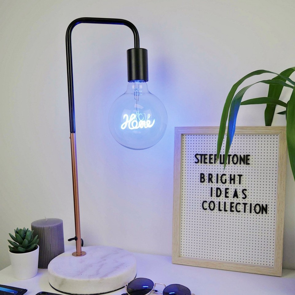 Home Bulb not included Copper Desk Lamp with Marble Stone Base