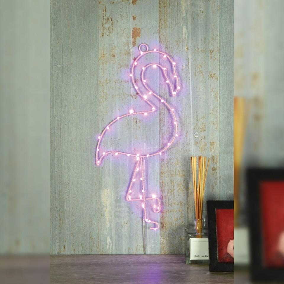 Pink Flamingo LED Silhouette Wall Light