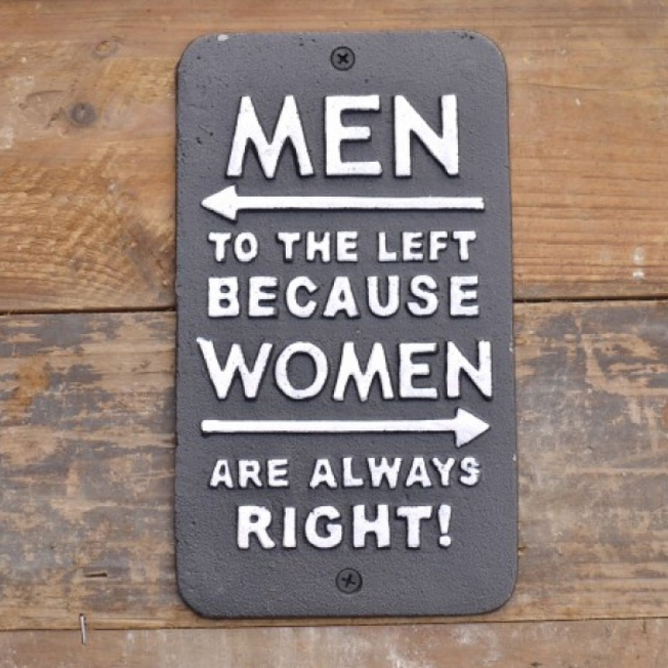 Men To The Left Sign