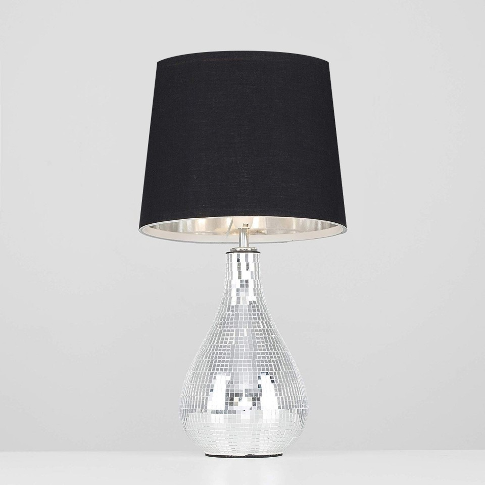 Shade not included Levon Mirrored Tile Table Lamp