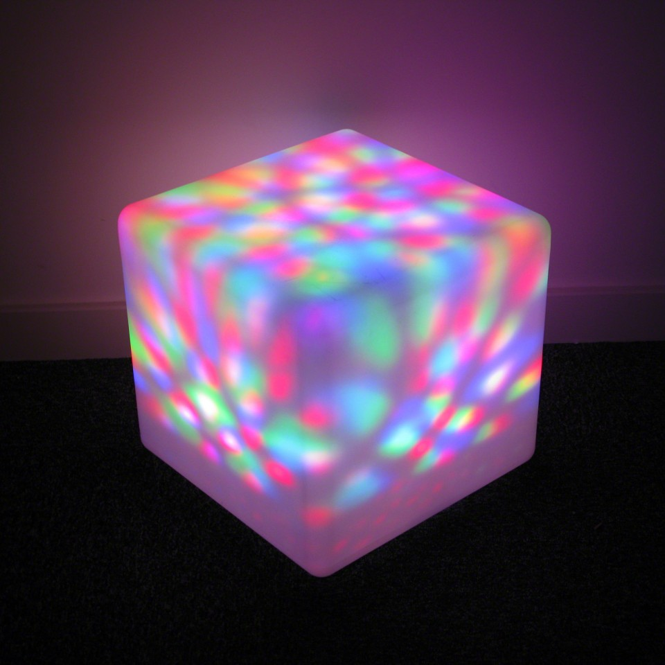 Pictured inside colour change outdoor cube Rechargeable Spinning Light Unit