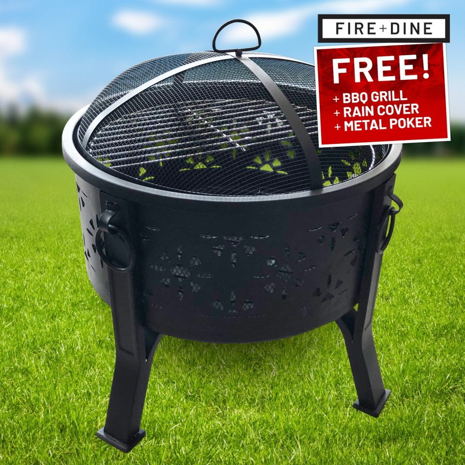 Morroc Fire Pit & BBQ Grill With Rain Cover by Fire & Dine