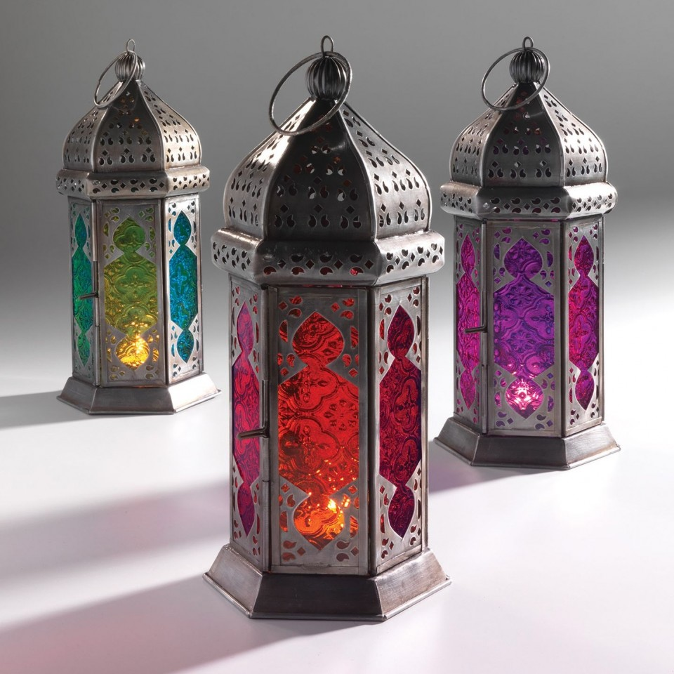 Single lantern supplied Moroccan 30cm Tonal Glass Lantern