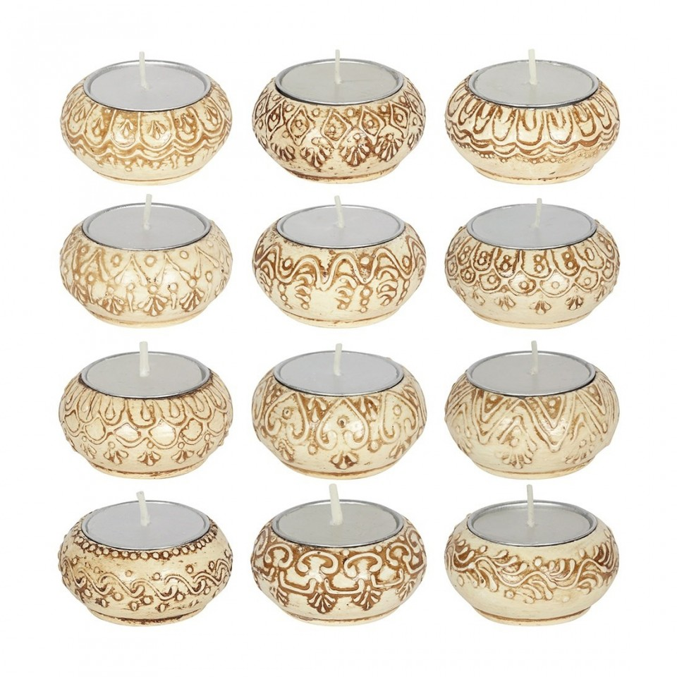 Single candle supplied Natural Cream Indian Tealight Holders