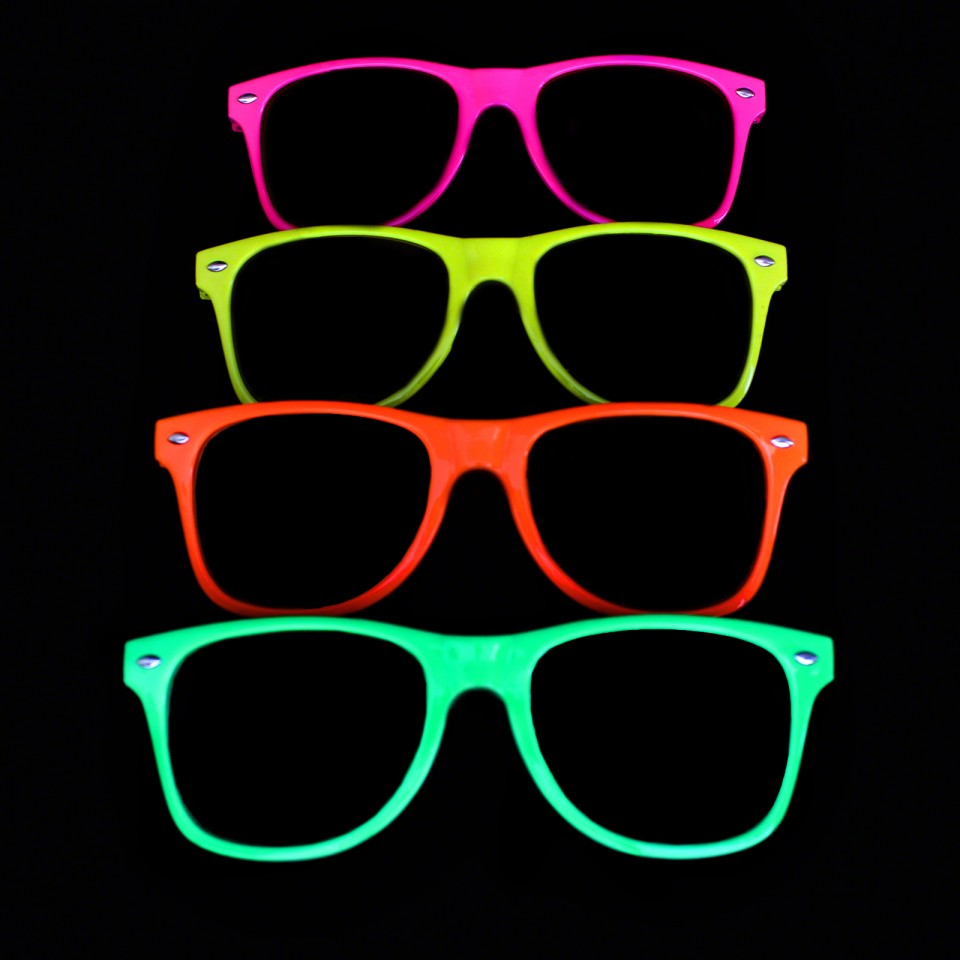 Neon Glasses Clear Lenses