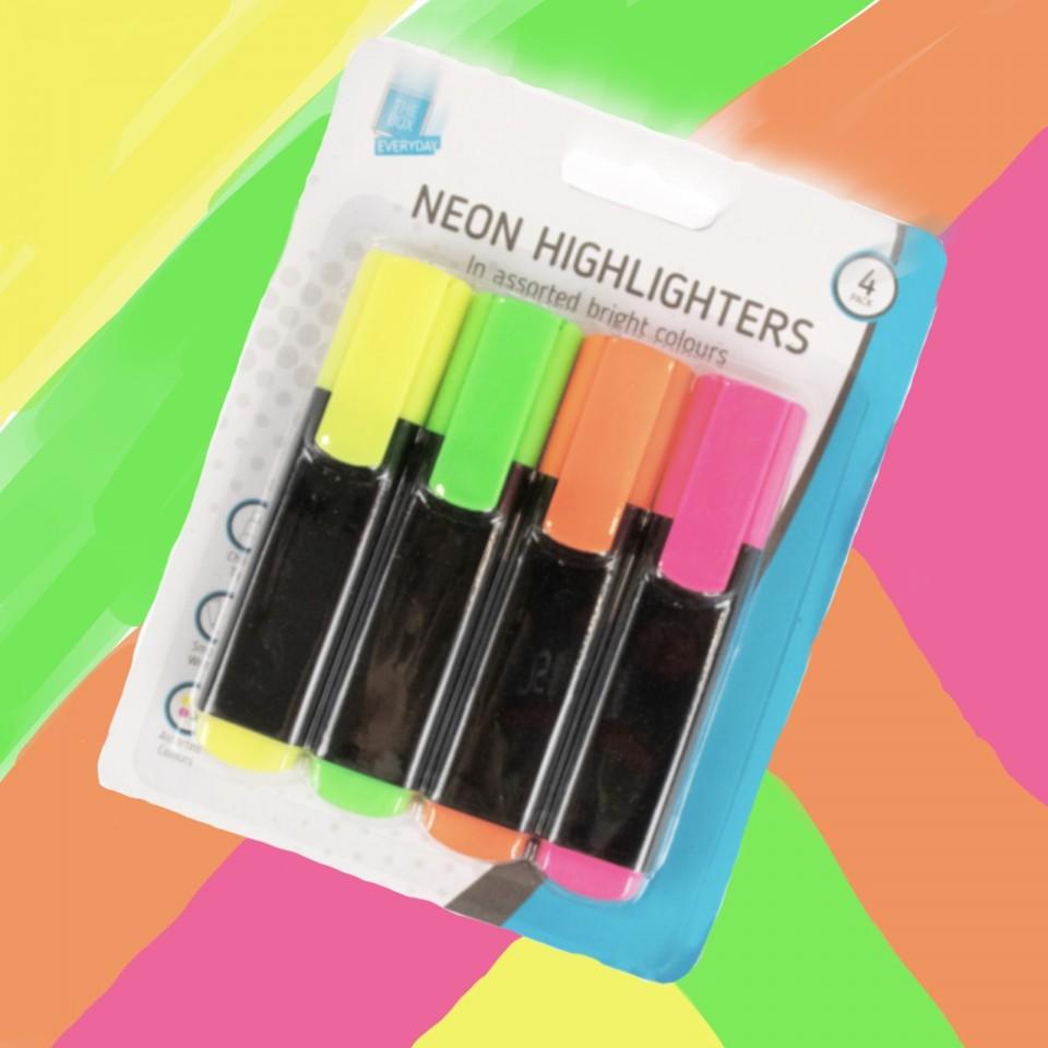 Neon Highlighter Pens (4 pack)