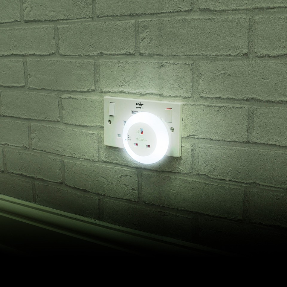 White Plug Through Night Light