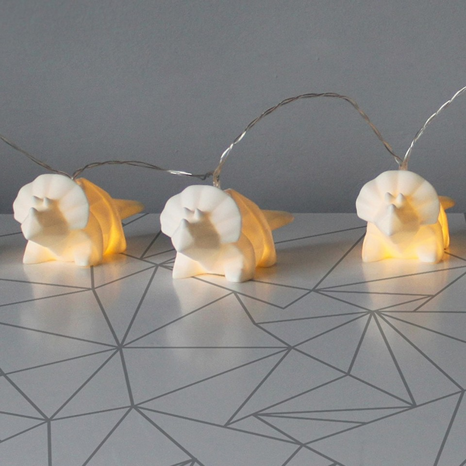 Origami White Dinosaur Fairy Lights