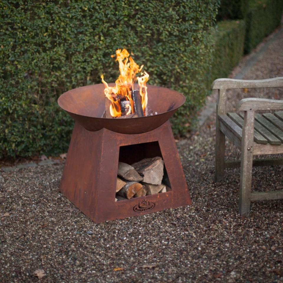 Oxidised Fire Bowl & Woodstore (FF169)