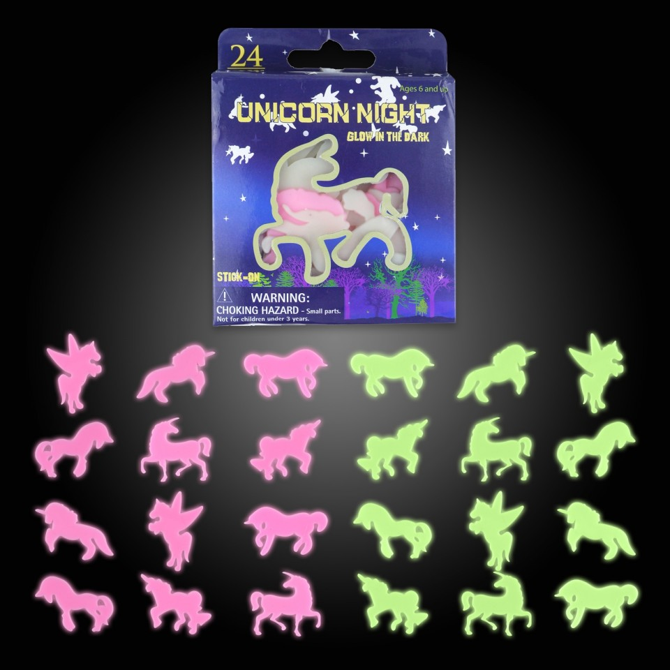 24 Piece Glow in the Dark Unicorn Shapes (12 pack)