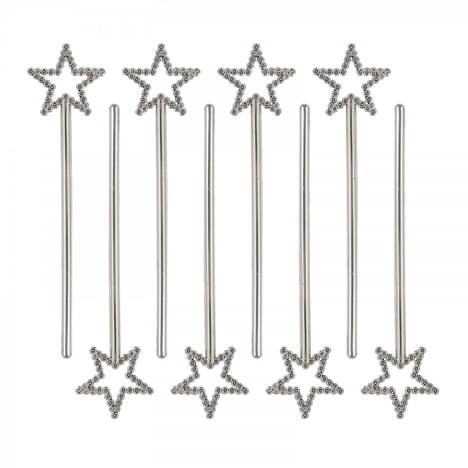 Silver Mini Star Wands (8 pack)