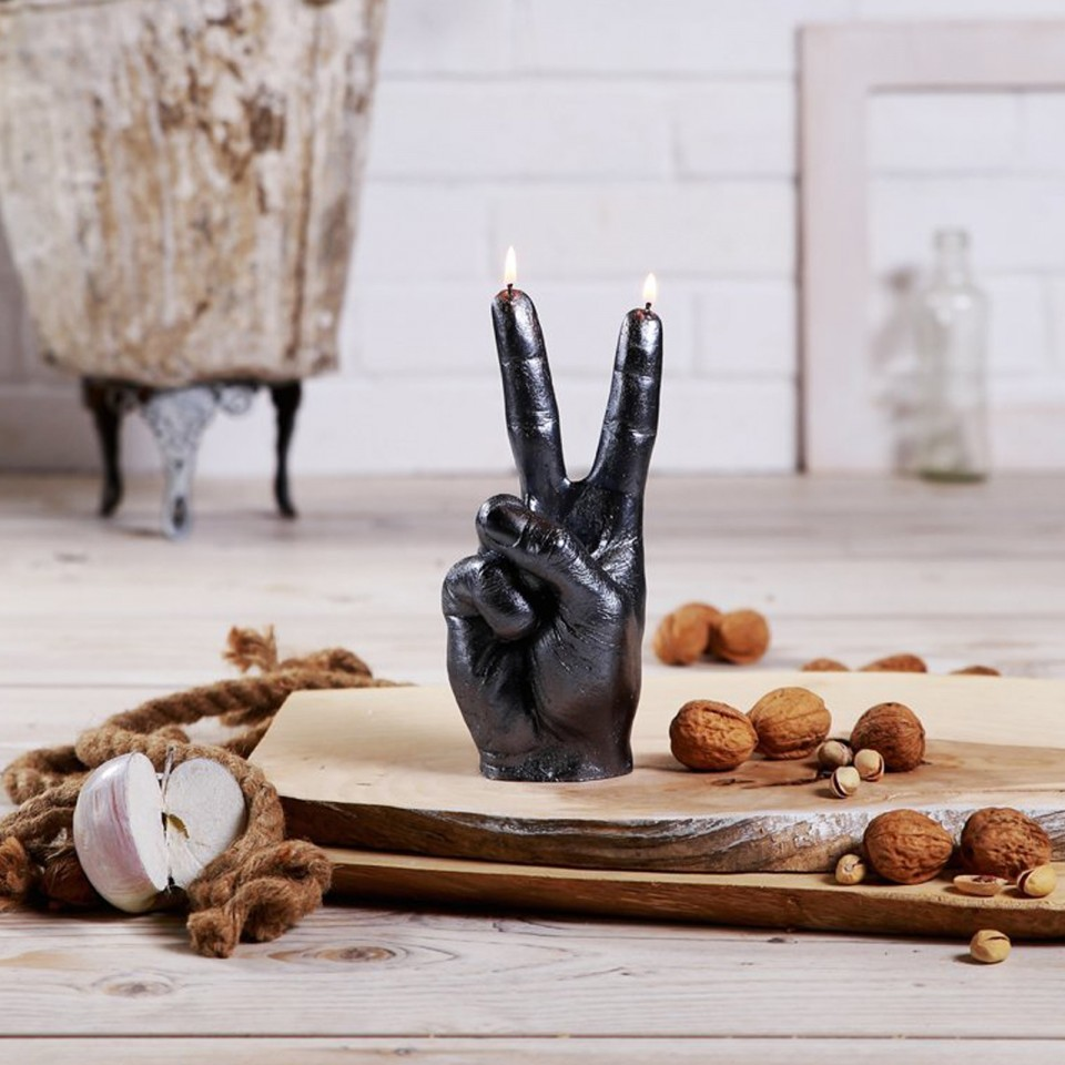 Peace Sign Hand Candle