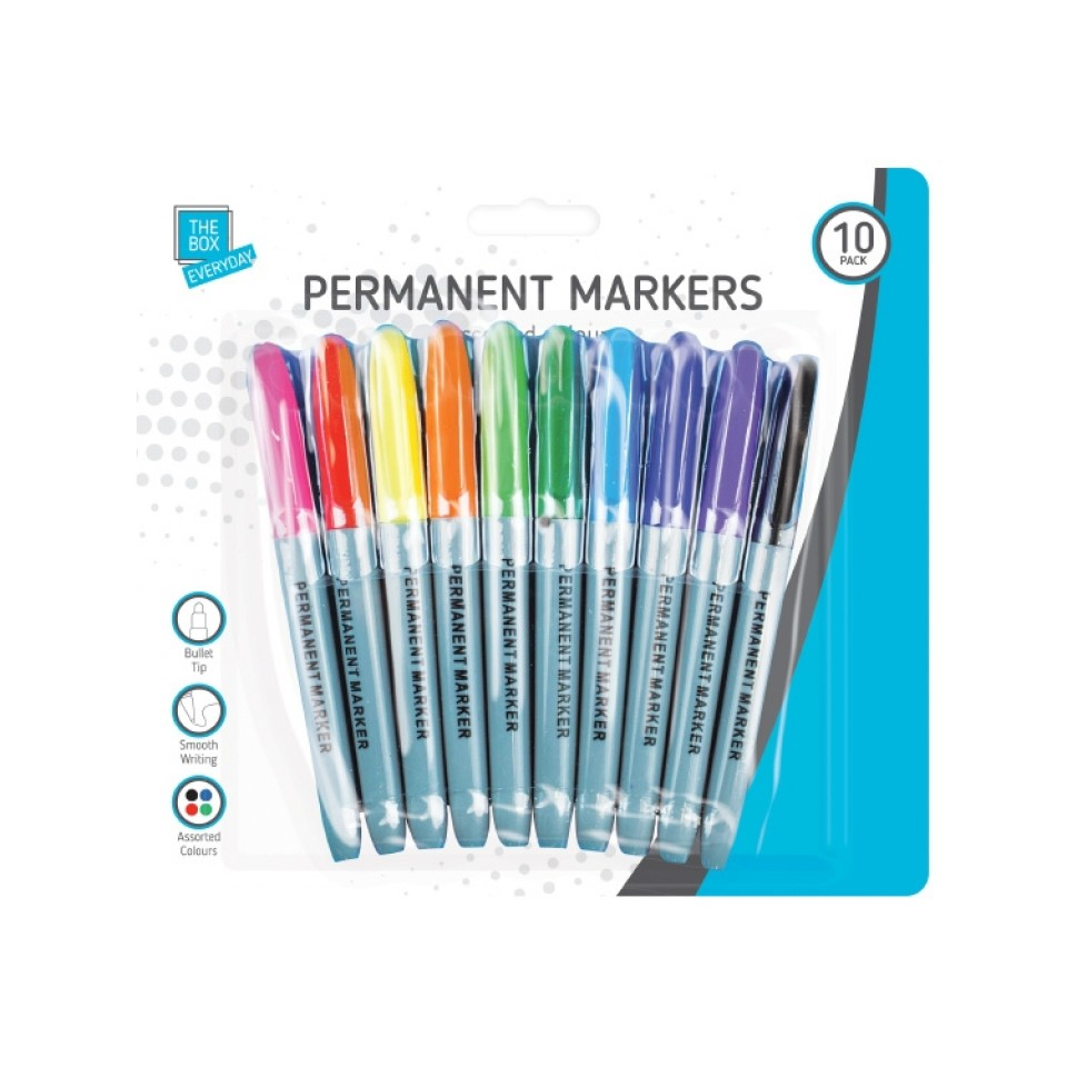 Permanent Markers in Assorted Colours (10 pack)